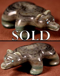 Brion Hattie | Ricolite  | Badger  | Price: $135. +  $10.00  domestic shipping | Texas sales tax applies to Texas Residents! | CLICK  IMAGE for more views & information. | Authentic Zuni fetishes direct from Zuni Pueblo to YOU from Zunispirits.com!