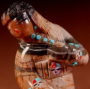 Randy Lucio  | Picasso Marble  | Storyteller | Price: $525. +  $14.50 + Heavy Weight Fee = domestic shipping | Texas sales tax applies to Texas Residents! | CLICK  IMAGE for more views & information. | Authentic Zuni fetishes direct from Zuni Pueblo to YOU from Zunispirits.com!