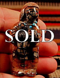 Randy Lucio | Picasso Marble  | Bear Priest  | Price WAS: $275.   ON SALE:  $175. +  $10.00  domestic shipping | Texas sales tax applies to Texas Residents! | CLICK  IMAGE for more views & information. | Authentic Zuni fetishes direct from Zuni Pueblo to YOU from Zunispirits.com!