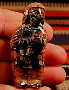 Randy Lucio | Picasso Marble  | Bear Priest  | Price: $275. +  $11.25  domestic shipping | Texas sales tax applies to Texas Residents! | CLICK  IMAGE for more views & information. | Authentic Zuni fetishes direct from Zuni Pueblo to YOU from Zunispirits.com!