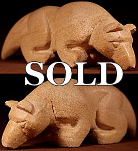 Brian Yatsattie  | Local Sandstone  | Giant Wolf  | Price WAS: $165.  |  SALE Price: $125. +  $11.25  domestic shipping | Texas sales tax applies to Texas </a>Residents! | CLICK  IMAGE for more views & information. | Authentic Zuni fetishes direct from Zuni Pueblo to YOU from Zunispirits.com!