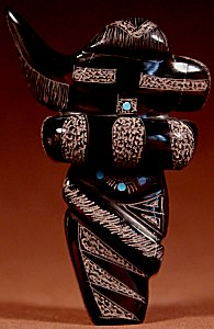 Russell Shack  | Black Marble  | Sgraffito Longhorn Kachina  | Price: $125. +  $10.00  domestic shipping | Texas sales tax applies to Texas Residents! | CLICK  IMAGE for more views & information. | Authentic Zuni fetishes direct from Zuni Pueblo to YOU from Zunispirits.com!