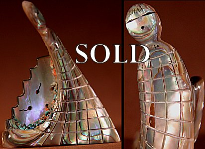 Rick Quam II  | Abalone  | Corn Maiden & Corn Bowl  | Price: $150. +  $10.00 domestic shipping | Texas sales tax applies to Texas Residents! | CLICK  IMAGE for more views & information. | Authentic Zuni fetishes direct from Zuni Pueblo to YOU from Zunispirits.com!