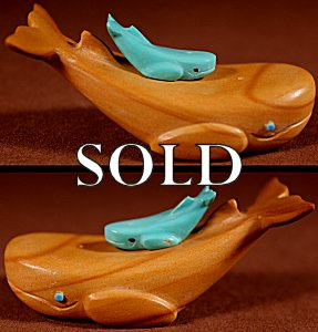 Verla Lasiloo Jim  | Jasper-Turquoise | Double Whales  | Price: $95. +  $9.25  domestic shipping | Texas sales tax applies to Texas Residents! | CLICK  IMAGE for more views & information. | Authentic Zuni fetishes direct from Zuni Pueblo to YOU from Zunispirits.com!