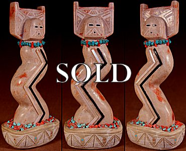 James Cheama | Alabaster | Tablita Maiden | Price: $195. +  $10.00  domestic shipping | Texas sales tax applies to Texas Residents! | CLICK  IMAGE for more views & information. | Authentic Zuni fetishes direct from Zuni Pueblo to YOU from Zunispirits.com!