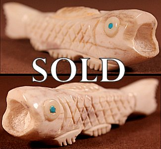 Robert Weahkee |  Antler  | Fish  | Price WAS: $42.   ON SALE: $24. +  $8.50  domestic shipping | Texas sales tax applies to Texas Residents! | CLICK  IMAGE for more views & information. | Authentic Zuni fetishes direct from Zuni Pueblo to YOU from Zunispirits.com!