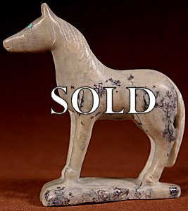 Hubert Pincion | Montana Talc  | Horse  | Price: $75. +  $9.25  domestic shipping | Texas sales tax applies to Texas Residents! | CLICK  IMAGE for more views & information. | Authentic Zuni fetishes direct from Zuni Pueblo to YOU from Zunispirits.com!