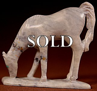 Hubert Pincion  | Montana Talc  | Horse  | Price: $60. +  $9.25  domestic shipping | Texas sales tax applies to Texas Residents! | CLICK  IMAGE for more views & information. | Authentic Zuni fetishes direct from Zuni Pueblo to YOU from Zunispirits.com!