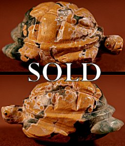 Ron Laahty |  Ocean Jasper  | Turtle  | Price: $395. +  $12.50  domestic shipping | Texas sales tax applies to Texas Residents! | CLICK  IMAGE for more views & information. | Authentic Zuni fetishes direct from Zuni Pueblo to YOU from Zunispirits.com!