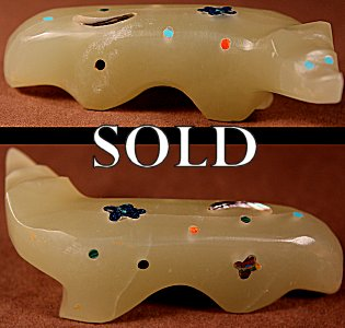 Jayne Quam  | Fluorite  | Inlaid Wolf  | Price: $95. +  $9.25  domestic shipping | Texas sales tax applies to Texas Residents! | CLICK  IMAGE for more views & information. | Authentic Zuni fetishes direct from Zuni Pueblo to YOU from Zunispirits.com!