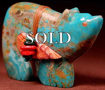 Lena Boone | Turquoise  | Bear  | Price: $65. +  $9.25  domestic shipping | Texas sales tax applies to Texas Residents! | CLICK  IMAGE for more views & information. | Authentic Zuni fetishes direct from Zuni Pueblo to YOU from Zunispirits.com!
