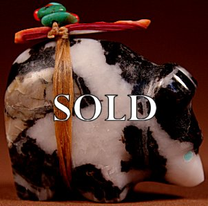 Josh Leki | Zebra Marble  | Medicine Bear  | Price: $42. +  $8.50  domestic shipping | Texas sales tax applies to Texas Residents! | CLICK  IMAGE for more views & information. | Authentic Zuni fetishes direct from Zuni Pueblo to YOU from Zunispirits.com!
