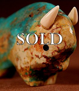 Lynn Quam  | Turquoise  | Buffalo  | Price: $48. +  $9.25  domestic shipping | Texas sales tax applies to Texas Residents! | CLICK  IMAGE for more views & information. | Authentic Zuni fetishes direct from Zuni Pueblo to YOU from Zunispirits.com!