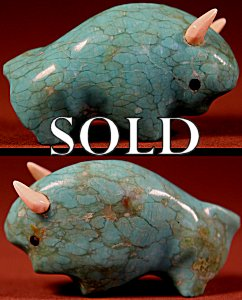 Lynn Quam | Turquoise  | Buffalo  | Price: $65. +  $9.25  domestic shipping | Texas sales tax applies to Texas Residents! | CLICK  IMAGE for more views & information. | Authentic Zuni fetishes direct from Zuni Pueblo to YOU from Zunispirits.com!