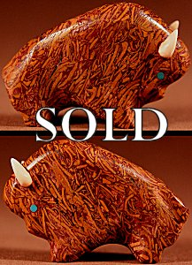 Lynn Quam |  Cochina Jasper  | Buffalo  | Price: $65. +  $9.25  domestic shipping | Texas sales tax applies to Texas Residents! | CLICK  IMAGE for more views & information. | Authentic Zuni fetishes direct from Zuni Pueblo to YOU from Zunispirits.com!