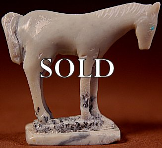 Hubert Pincion  | Montana Talc  | Horse  | Price: $54. +  $9.25  domestic shipping | Texas sales tax applies to Texas Residents! | CLICK  IMAGE for more views & information. | Authentic Zuni fetishes direct from Zuni Pueblo to YOU from Zunispirits.com!