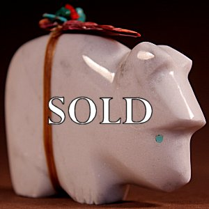 Josh Leki | White Marble  | Bear  | Price: $65. +  $9.25  domestic shipping | Texas sales tax applies to Texas Residents! | CLICK  IMAGE for more views & information. | Authentic Zuni fetishes direct from Zuni Pueblo to YOU from Zunispirits.com!
