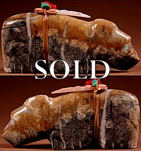Josh Leki |  Picasso Marble  | Bear  | Price: $54. +  $9.25  domestic shipping | Texas sales tax applies to Texas Residents! | CLICK  IMAGE for more views & information. | Authentic Zuni fetishes direct from Zuni Pueblo to YOU from Zunispirits.com!