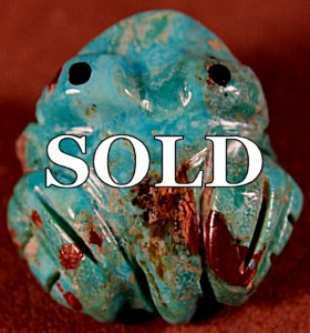 Marilyn Quam  | Turquoise  | Blue Turquoise Frog  | Price WAS: $36.   ON SALE: $20. +  $8.50  domestic shipping | Texas sales tax applies to Texas Residents! | CLICK  IMAGE for more views & information. | Authentic Zuni fetishes direct from Zuni Pueblo to YOU from Zunispirits.com!