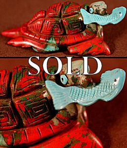 Ron Laahty |  Sonoran Sunrise - Turquoise  | Turtle with Fish  | Price: $450. +  $13.50  domestic shipping | Texas sales tax applies to Texas Residents! | CLICK  IMAGE for more views & information. | Authentic Zuni fetishes direct from Zuni Pueblo to YOU from Zunispirits.com!