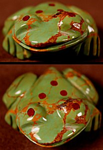 Marilyn Quam  | Green Turquoise  | Inlaid Frog  | Price WAS: $45.   ON SALE: $32. +  $8.50  domestic shipping | Texas sales tax applies to Texas Residents! | CLICK  IMAGE for more views & information. | Authentic Zuni fetishes direct from Zuni Pueblo to YOU from Zunispirits.com!