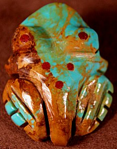 Marilyn Quam  | Turquoise  | Blue Inlaid  Frog  | Price WAS: $45.   ON SALE: $32. +  $8.50  domestic shipping | Texas sales tax applies to Texas </a>Residents! | CLICK  IMAGE for more views & information. | Authentic Zuni fetishes direct from Zuni Pueblo to YOU from Zunispirits.com!