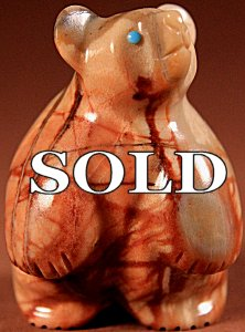 Vernon Lunasee & Prudencia Quam |  Picasso Marble  | Standing Bear  | Price: $65. +  $9.25  domestic shipping | Texas sales tax applies to Texas Residents! | CLICK  IMAGE for more views & information. | Authentic Zuni fetishes direct from Zuni Pueblo to YOU from Zunispirits.com!