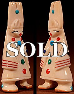 Troy Sice  | Antler  | Tablita Maiden  | Price: $105. +  $10.00  domestic shipping | Texas sales tax applies to Texas Residents! | CLICK  IMAGE for more views & information. | Authentic Zuni fetishes direct from Zuni Pueblo to YOU from Zunispirits.com!