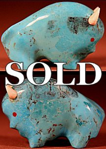 Lynn Quam |  Turquoise  | Buffalo  | Price: $72. +  $9.25  domestic shipping | Texas sales tax applies to Texas Residents! | CLICK  IMAGE for more views & information. | Authentic Zuni fetishes direct from Zuni Pueblo to YOU from Zunispirits.com!