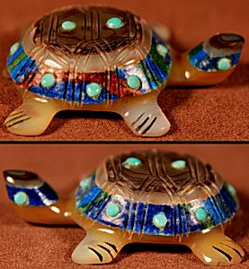 Andres & Laura Quam  | Calsilica & Abalone  | Inlaid Turtle  | Price: $65. +  $9.25  domestic shipping | Texas sales tax applies to Texas </a>Residents! | CLICK  IMAGE for more views & information. | Authentic Zuni fetishes direct from Zuni Pueblo to YOU from Zunispirits.com!