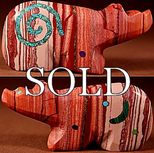 Jayne Quam  | Pink Dolomite  | Inlaid Bear  | Price: $105. +  $10.00  domestic shipping | Texas sales tax applies to Texas Residents! | CLICK  IMAGE for more views & information. | Authentic Zuni fetishes direct from Zuni Pueblo to YOU from Zunispirits.com!