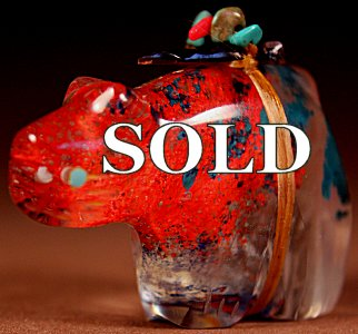 Lena Boone |  Murano Glass  | Bobcat | Price: $72. +  $9.25  domestic shipping | Texas sales tax applies to Texas Residents! | CLICK  IMAGE for more views & information. | Authentic Zuni fetishes direct from Zuni Pueblo to YOU from Zunispirits.com!