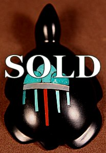 Emery Boone | Jet | Inlaid Turtle  | Price: $65. +  $9.25  domestic shipping | Texas sales tax applies to Texas Residents! | CLICK  IMAGE for more views & information. | Authentic Zuni fetishes direct from Zuni Pueblo to YOU from Zunispirits.com!