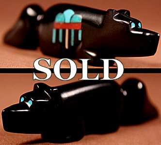 Emery Boone | Jet | Inlaid Wolf  | Price: $60. +  $9.25  domestic shipping | Texas sales tax applies to Texas Residents! | CLICK  IMAGE for more views & information. | Authentic Zuni fetishes direct from Zuni Pueblo to YOU from Zunispirits.com!