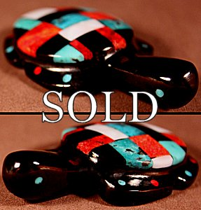 Cheryl Beyuka | Silverado Jet | Inlaid Turtle  | Price: $135. +  $10.00  domestic shipping | Texas sales tax applies to Texas Residents! | CLICK  IMAGE for more views & information. | Authentic Zuni fetishes direct from Zuni Pueblo to YOU from Zunispirits.com!