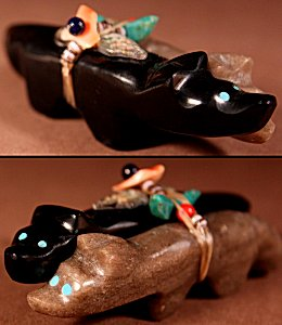 Jayne Quam  | Jet- Serpentine  | Double Wolves  | Price WAS: $135.  |  SALE PRICE:  $75.  +  $9.25  domestic shipping | Texas sales tax applies to Texas Residents! | CLICK  IMAGE for more views & information. | Authentic Zuni fetishes direct from Zuni Pueblo to YOU from Zunispirits.com!
