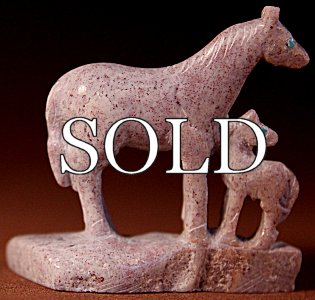 Hubert Pincion | Soapstone | Horse Pair  | Price: $65. +  $9.25  domestic shipping | Texas sales tax applies to Texas Residents! | CLICK  IMAGE for more views & information. | Authentic Zuni fetishes direct from Zuni Pueblo to YOU from Zunispirits.com!