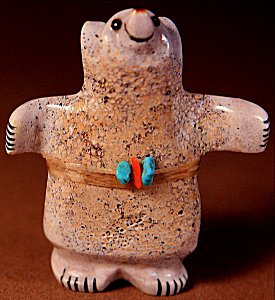 Claudia Peina |  Antler  | Huggie Bear  | Price: $54.00 +  $9.25 or more domestic USA shipping | 6.75% Texas sales tax applies to Texas Residents! | CLICK  IMAGE for more views & information. | Authentic Zuni fetishes direct from Zuni Pueblo to YOU from Zunispirits.com!