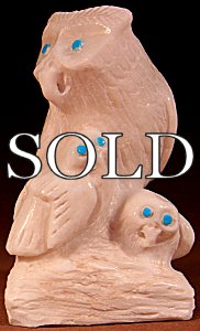 Derrick Kaamasee  | White Marble  | Owl Family  | Price: $165. +  $10.00  domestic shipping | Texas sales tax applies to Texas Residents! | CLICK  IMAGE for more views & information. | Authentic Zuni fetishes direct from Zuni Pueblo to YOU from Zunispirits.com!