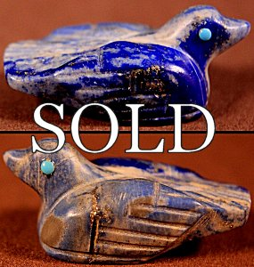 Vernon Lunasee & Prudencia Quam |  Denim Lapis  | Bird  | Price: $48. +  $8.50 or more domestic USA shipping | 6.75% Texas sales tax applies to Texas Residents! | CLICK  IMAGE for more views & information. | Authentic Zuni fetishes direct from Zuni Pueblo to YOU from Zunispirits.com!