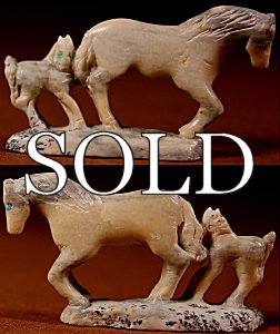 Hubert Pincion | Montana Talc | Horse Pair  | Price: $72. +  $9.25  domestic shipping | Texas sales tax applies to Texas Residents! | CLICK  IMAGE for more views & information. | Authentic Zuni fetishes direct from Zuni Pueblo to YOU from Zunispirits.com!