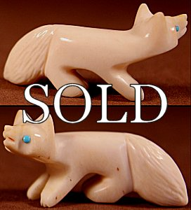 Vernon Lunasee & Prudencia Quam | Fossil Ivory | Fox  | Price: $65. +  $9.25  domestic shipping | Texas sales tax applies to Texas Residents! | CLICK  IMAGE for more views & information. | Authentic Zuni fetishes direct from Zuni Pueblo to YOU from Zunispirits.com!
