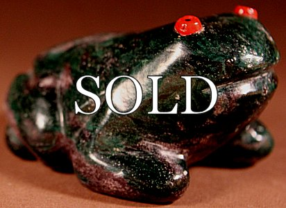 Neil Natewa (d.) | Arizona Malachite | Large Frog  | Price: $950. +  $19.00  domestic shipping | Texas sales tax applies to Texas Residents! | CLICK  IMAGE for more views & information. | Authentic Zuni fetishes direct from Zuni Pueblo to YOU from Zunispirits.com!