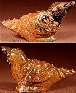 Delvin Leekya | Picasso Marble | Inlaid Bird  | Price: $165. +  $10.00  domestic shipping | Texas sales tax applies to Texas Residents! | CLICK  IMAGE for more views & information. | Authentic Zuni fetishes direct from Zuni Pueblo to YOU from Zunispirits.com!