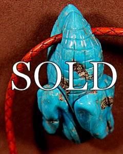 Troy Sice | Turquoise & Leather | Corn Pendant Necklace  | Price: $375. +  $12.50  domestic shipping | Texas sales tax applies to Texas Residents! | CLICK  IMAGE for more views & information. | Authentic Zuni fetishes direct from Zuni Pueblo to YOU from Zunispirits.com!