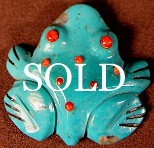 Andrew & Laura Quam | Turquoise | Inlaid Frog | Price: $85. +  $9.25  domestic shipping | Texas sales tax applies to Texas Residents! | CLICK  IMAGE for more views & information. | Authentic Zuni fetishes direct from Zuni Pueblo to YOU from Zunispirits.com!