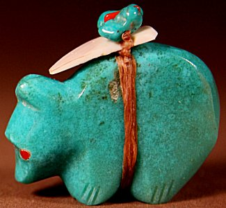 Lena Boone | Turquoise | Medicine Bear | Price: $48. +  $8.50 domestic shipping | Texas sales tax applies to Texas Residents! | CLICK  IMAGE for more views & information. | Authentic Zuni fetishes direct from Zuni Pueblo to YOU from Zunispirits.com!