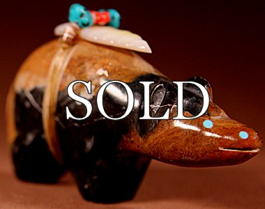 Pete (d.) & Dinah Gasper | Picasaso Marble | Bear | Price: $295. +  $11.25 domestic shipping | Texas sales tax applies to Texas Residents! | CLICK  IMAGE for more views & information. | Authentic Zuni fetishes direct from Zuni Pueblo to YOU from Zunispirits.com!