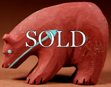 Andres Quandelacy | Pipestone | Bear w heartline  |  Price: $195. +  $10.00  domestic shipping | Texas sales tax applies to Texas  Residents! | CLICK  IMAGE for more views & information. | Authentic Zuni fetishes  direct from Zuni Pueblo to YOU from Zunispirits.com!