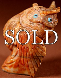 Hudson Sandy | Picasaso Marble | Owl | Price: $375. +  $12.50 domestic shipping | Texas sales tax applies to Texas Residents! | CLICK  IMAGE for more views & information. | Authentic Zuni fetishes direct from Zuni Pueblo to YOU from Zunispirits.com!